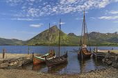 Mountains And Fjord Sognefjord In Norway, Scandinavia. Old Viking Boat On Seashore.