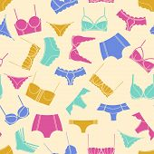 Bright Lingerie On Beige Background Seamless Pattern