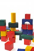 stock photo of cylinder pyramid  - colorful wooden toy blocks isolated on white background - JPG