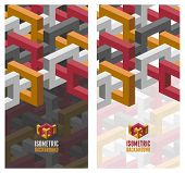 Vector brochure / flyer layout template with abstract 3D isometric background. Modern trendy design.