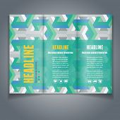 Vector Tri-fold brochure / flyer layout template with abstract 3D isometric background. Modern trendy design.
