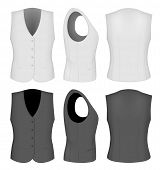 Ladies white and black waistcoats for business women (front, back and side views). Formal work wear. Vector illustration.