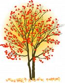 illustration with red rowan tree on light background