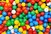 stock photo of playground  - many color plastic balls on children - JPG