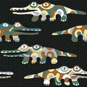 Seamless Background With Psychedelic Crocodiles.eps