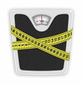 stock photo of body fat  - Measuring tape wrapped around bathroom scales - JPG