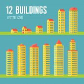 12 building vector icons in flat design style for presentation, booklet, website etc.