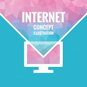 Polygonal vector background - internet concept illustration with monitor symbol. Pink, violet, and b