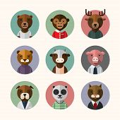 Постер, плакат: Flat design style animal avatar icon set