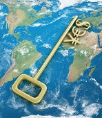 Gold Currency Symbols On The Key With The Word Yes On The World.