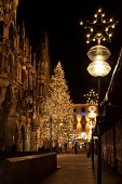Christmas Tree At Night With Lights. Marienplatz In Munich , Germany.