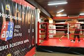 NOVOSIBIRSK, RUSSIA - NOVEMBER 26, 2014: Open training before the match of AIBA Pro Boxing international tournament. The winners will go to the Olympics-2016