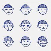 Vector Hand Drawn Doodle Emoticons Set. Boy's Head Emotions Sketch