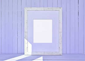 stock photo of mosk  - White canvas on violet wooden plank background - JPG