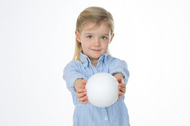 picture of generous  - generous child gives someone a perfect white ball - JPG