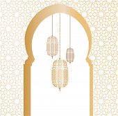 picture of arabic  - Arabic architectural illustration with arch and arabic lanterns - JPG