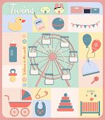 stock photo of twin baby girls  - Twins baby boy and girl shower set of elements for design - JPG