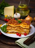 image of lasagna  - Slice of lasagna on the plate close up - JPG