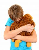 stock photo of sissy  - Sad Kid with Plush Toy on the White Background - JPG