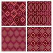 stock photo of marsala  - Set of seamless abstract marsala patterns - JPG