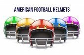 pic of football helmet  - Set of Realistic Blue American football helmet - JPG