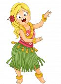 image of hawaiian girl  - Illustration of a Little Girl Wearing a Grass Skirt and Doing the Hula Dance - JPG
