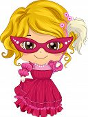 image of masquerade  - Illustration of a Little Girl Wearing a Masquerade Costume - JPG