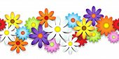 stock photo of purple white  - 3D colorful daisy seamless border over white - JPG