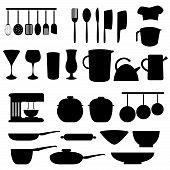 Utensilios de cocina y herramientas en gris