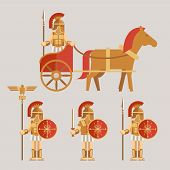 foto of chariot  - Ancient wariors icons set - JPG