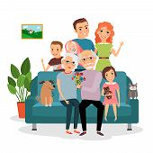 image of grandmother  - Family on sofa - JPG