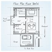 stock photo of interior sketch  - Floor plan house sketch - JPG