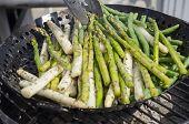 image of white asparagus  - Grilling seasoned green and white - JPG