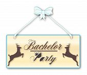 picture of woodgrain  - Bachelor Party men only sign in woodgrain with blue ribbon and bow over a white background with jumping stag cartoons - JPG