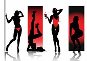 Sexy silhouettes in red poster