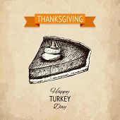 picture of pumpkin pie  - Vector illustration with ink hand drawn pumpkin pie for thanksgiving day design - JPG