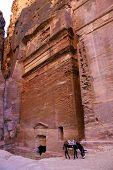 image of donkey  - Donkey walking around the ancient city of Petra Jordan - JPG