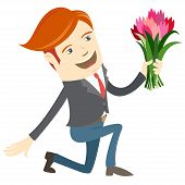 pic of kneeling  - Vector illustration Hipster funny man kneeling holding flowers - JPG