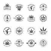 picture of marijuana  - Set of medical marijuana logos - JPG