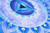 stock photo of chakra  - abstract blue painted picture with circle pattern - JPG