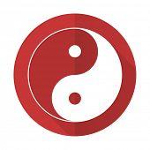 pic of ying-yang  - ying yang red flat icon   - JPG