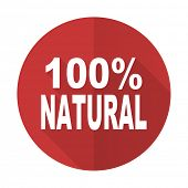 pic of 100 percent  - natural red flat icon 100 percent natural sign  - JPG