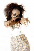 foto of spectacles  - Beautiful African Female Model Wearing a Tartan Dress with a Bow - JPG