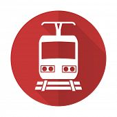 picture of railroad-sign  - train red flat icon public transport sign  - JPG