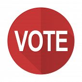 stock photo of voting  - vote red flat icon  - JPG
