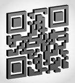 image of qr-code  - abstract qr code visually 3d effect vector illustration isolated on white background - JPG