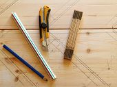 stock photo of carpentry  - Carpenter carpentry tools on pine wood with space for graphics - JPG