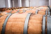 pic of wine cellar  - American oak barrels with red wine - JPG