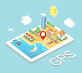 stock photo of gps  - Flat map mobile GPS navigation - JPG