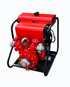 pic of firehose  - Motor pump with valves and holder for fire hose on a white background - JPG